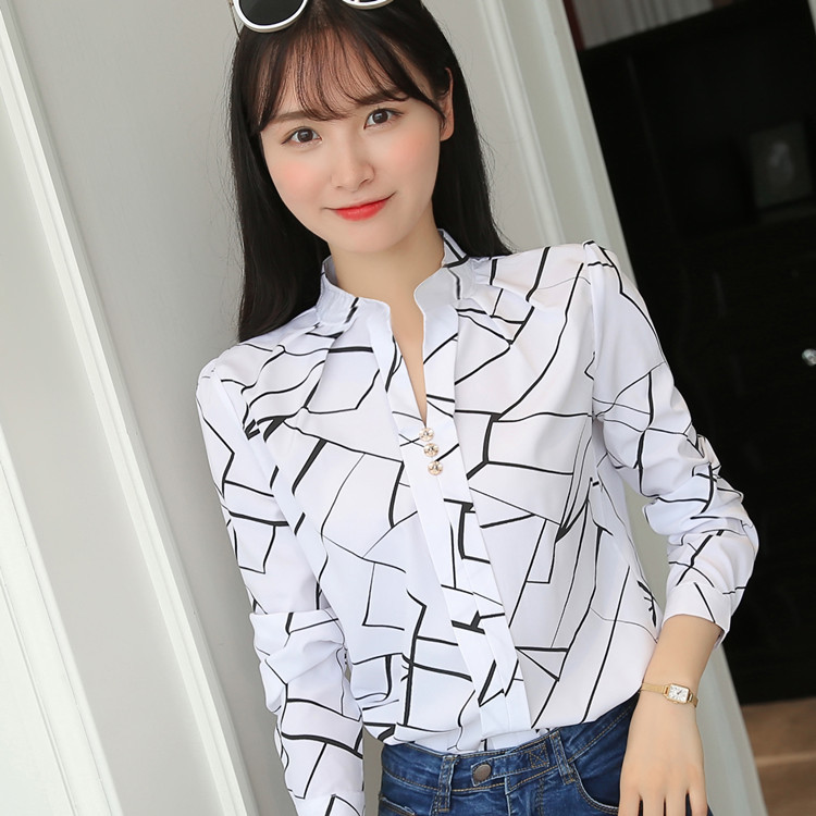 Ha109f1ee8ea942c19ab14e3a70ac456cA - Women Fashion White Tops and Blouses Stripe Print Design Casual Long Sleeve Office Lady Work Formal Shirts Female Plus Size
