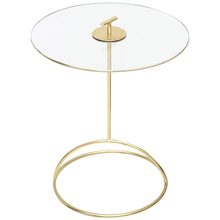 Light Luxury  Golden Round Table Tempered glass Coffee Table Modern Small Tea Table Electroplating Craft Movable Sofa Side Table