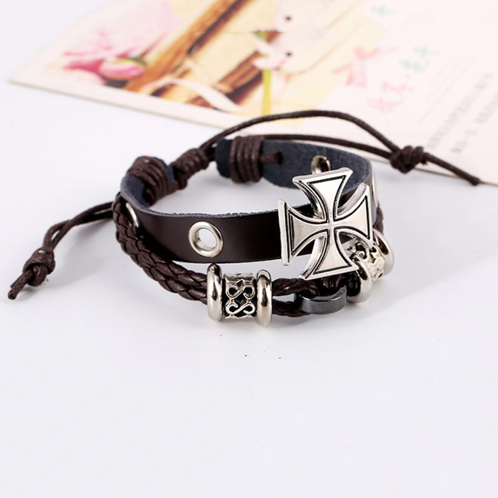 Vintage alloy cross leather bracelet adjustable Jewellery for women christian braided wristband for men Student beaded Bangle in Charm Bracelets from Jewelry Accessories