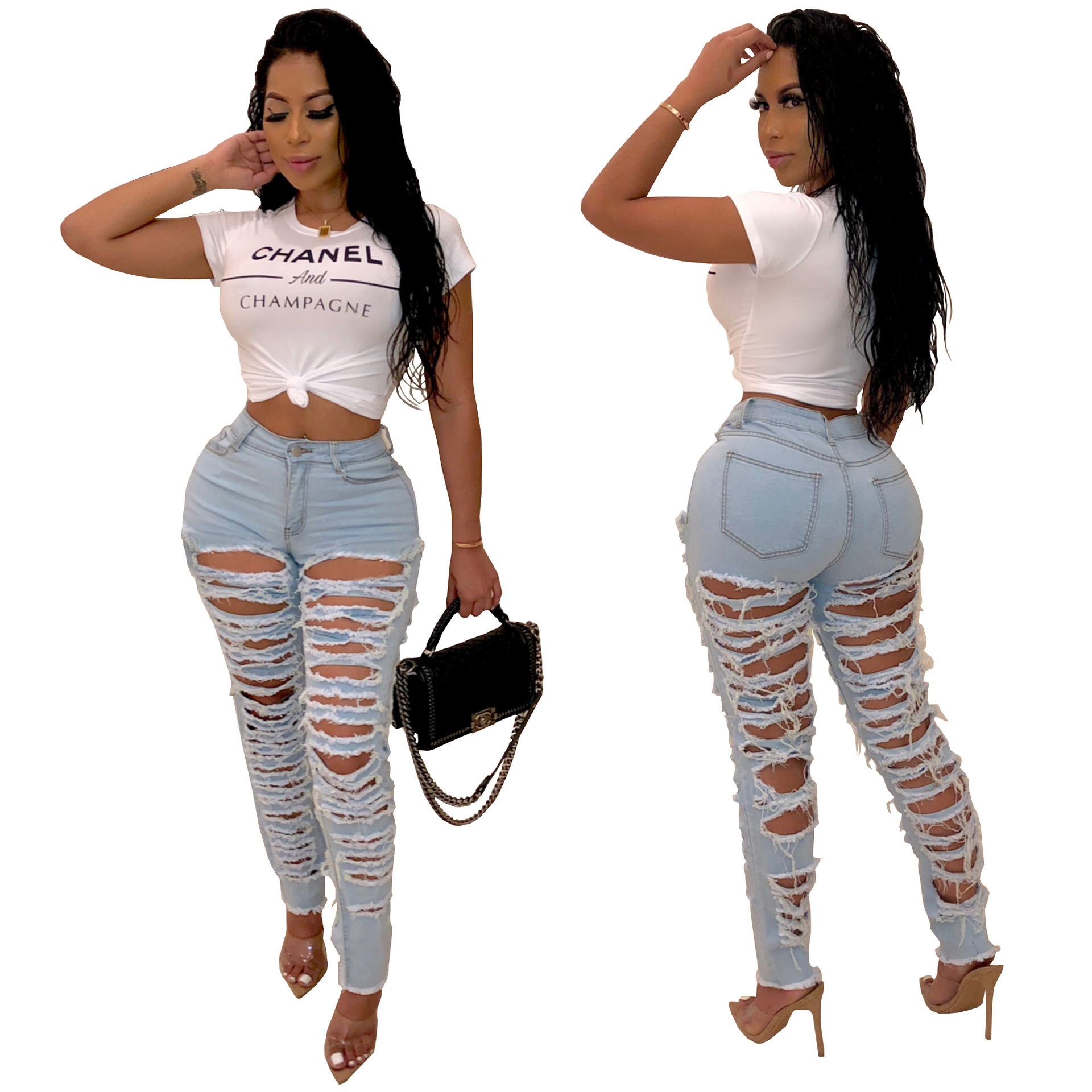 Hi Street Front Back Ass Hole Ripped Jeans For Women High Waist Distressed Jeans Woman Skinny Push Up Jeans Cut Out Denim Pants