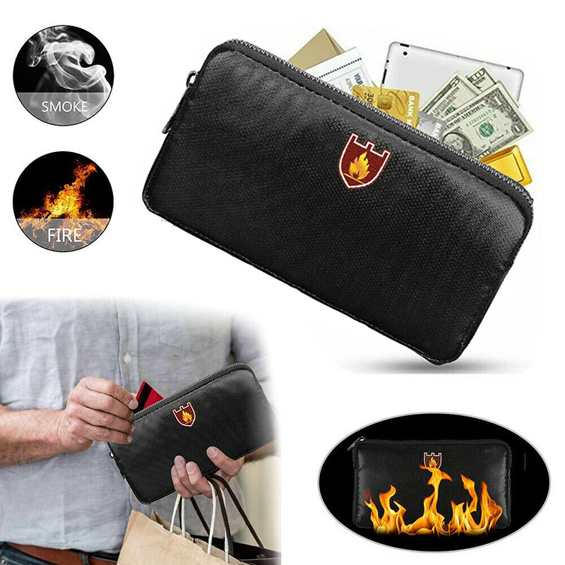 Fireproof Document Bag Improved Silicone Coated Fiberglass Black Storage Bag Fire Resistant Zipper Sewing Thread Document Bags