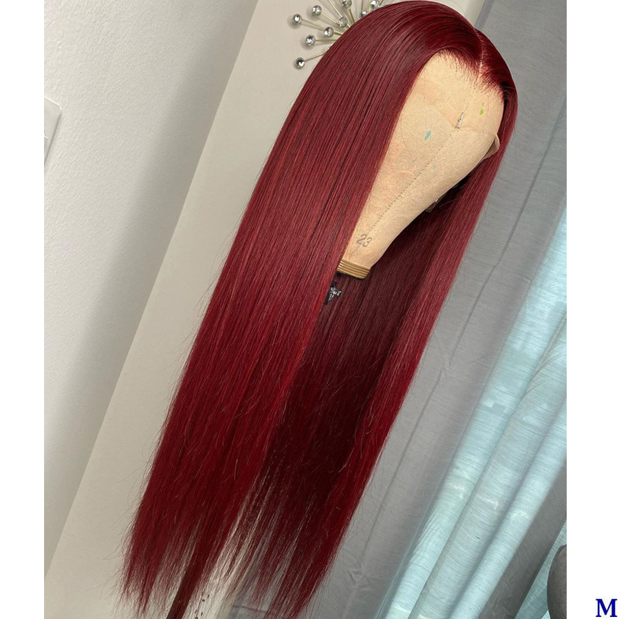 Malaysia Silky Straight Red Hair Silk Top Full Lace Human Hair Wigs 150Density Pre Plucked 360 Lace Frontal Wigs With Baby Hair