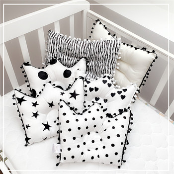 Nordic Ins Newborn Baby Pillow Shaping Crown Shape Black And White Classic 0-1 Year Cotton Anti-eccentric Head Correction