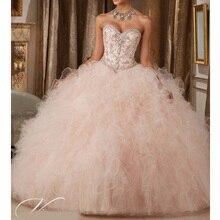 Robe Quinceanera, robe de bal, sans manches, rose clair, à volants et paillettes, bon marché, à lacets