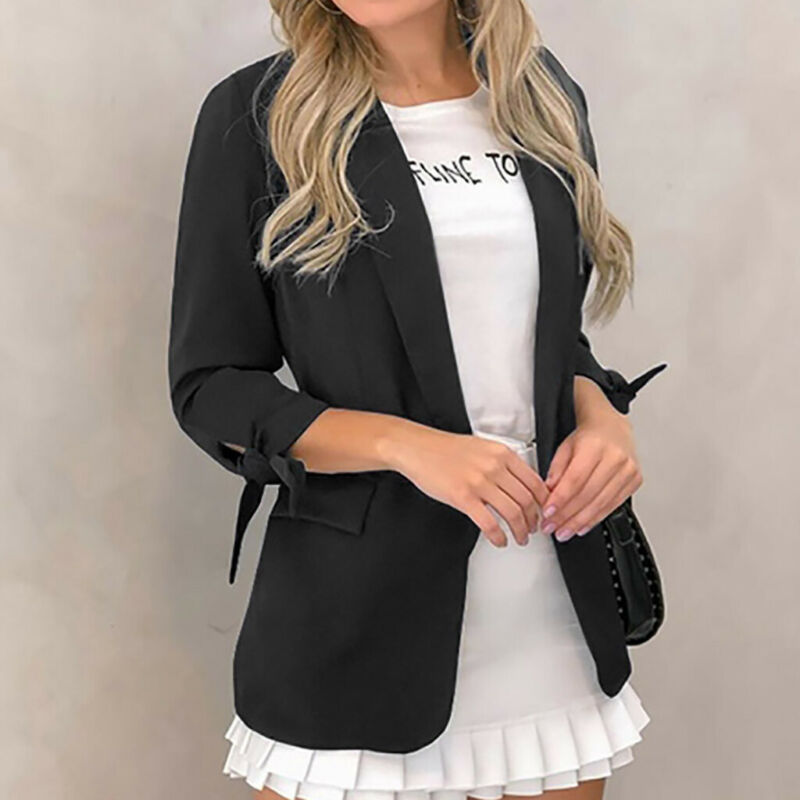 Newly Womens Lapel Blazer Cardigan Long Sleeve Blazers Solid Candy Color Open Stitch Ladies Work Casual Coat Blazer Outwear