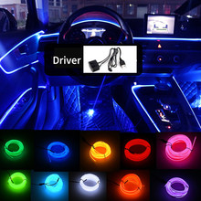 цена на 5m car interior accessories Lighting LED light EL cold wire with USB DIY Decorative Dash board Console Auto LED Ambient Lights