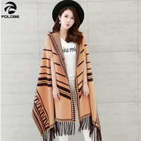 2020 luxury women winter scarf warmer shawl ladies striped cape knit hoodied wrap Cashmere poncho capes female