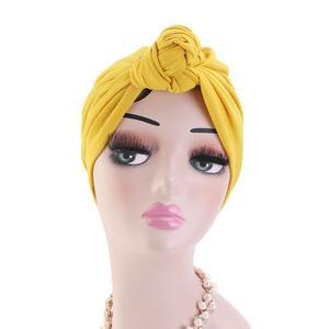 Image 3 - 이슬람 turban 비니 모자 매듭이 달린 탄성 머리 랩 캡 여성 chemo arab caps pleated 이슬람 탈모 모자 chemo cap bonnet new