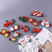 Kids Girls Christmas Hair Clips Glove Tree Santa Claus Hairpins Barrettes Children Hair Accessories Elastic Hair Bands Headdress(China)