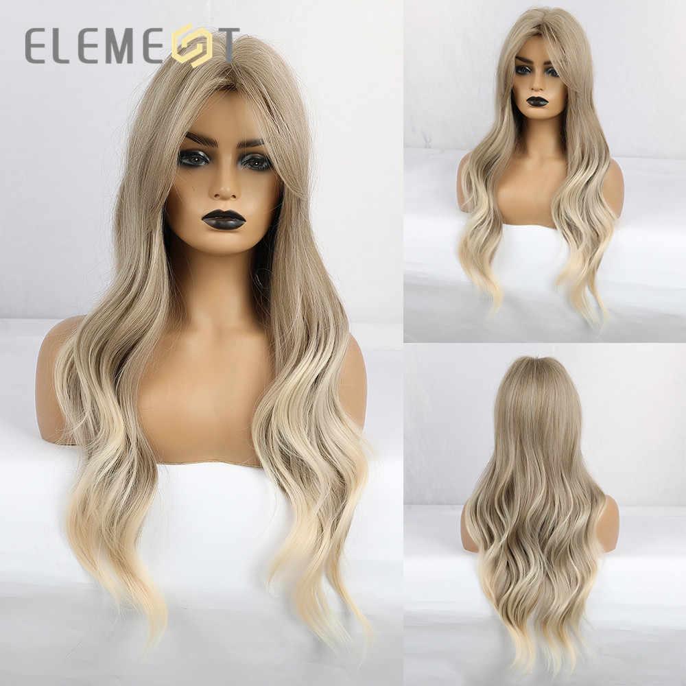 Element Lange Natuurlijke Golf Haar Synthetische Ombre Blond Bruin Party Pruiken Met Pony Voor Wit/Zwarte Vrouwen Hittebestendige fiber