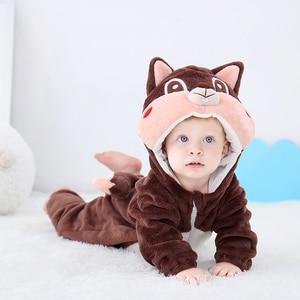 Image 2 - Newborn Baby Onesie Romper Cute Squirrel Baby Girl Boys Clothes Kigurumis Rompers Kid Infant Jumpsuit Warm Costume 0 2 years old
