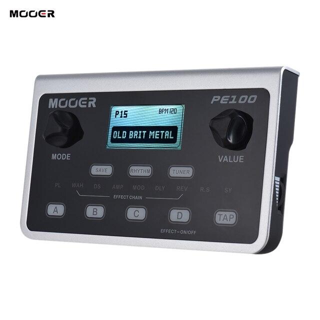 Mooer PE100 マルチエフェクトプロセッサーギターエフェクトペダル 39 エフェクトペダル 40 ドラムパターン 10 メトロノームタップ · テンポ