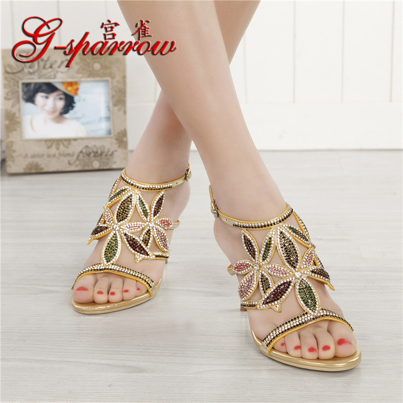 G-sparrow New Large Size Diamond Gold Crystal Wedding High Heeled Sandals Rhinestone Thick Heel Elegant Shoes4