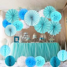 METABLE   Paper Flower Ball Set with 9 * Tissue Paper Pom Poms 6 * Hanging Paper Fans 6 *  Paper Balls for Wedding Decorations 5pcs 20cm multiple colors tissue paper pom poms flower balls party wedding home birthday supplies home decorations