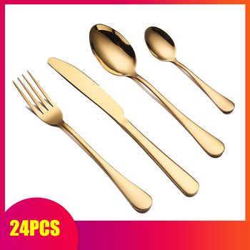 Spklifey Gold Cutlery 24 Pcs Dinnerware Set Gold Cutlery Set Gold Spoon Forks Knives Spoons Stainless Steel Cutlery Dinnerware фото