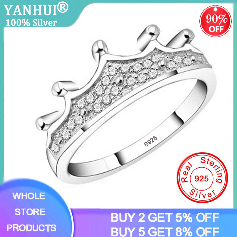 Korean Fashion Princess Crown Ring Statement Women Zircon Wedding Engagement Ring Trend 925 Solid Silver Romantic Party Gift