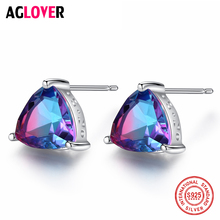 AGLOVER 2019 New 925 Sterling Silver Stud Earrings Natural Rainbow Zircon Earrings For Women Wedding Party Girl Jewellery Gift
