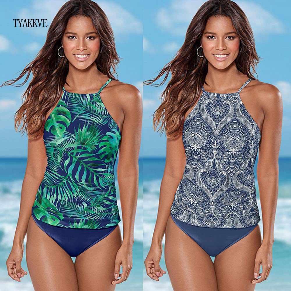 2020 Halter Tankini Baju Renang Wanita Plus Ukuran Baju Renang Retro Bunga Plus Ukuran Baju Renang Pakaian Renang Maillot De Bain Femme Bikini