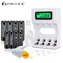 PALO Smart LCD Display USB Battery Charger For Ni-CD Ni-MH AA AAA Rechargeable Batteries+4pcs AA Batteries+4pcs AAA Batteries palo 4pcs 3000mah ni mh 1 2v aa rechargeable batteries aa battery battery rechargeable battery with lcd display battery charger