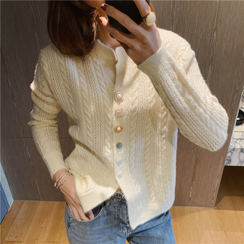 Ailegogo New 2020 Autumn Winter Women's Sweaters V-Neck Buttons Short Cardigans Fashionable Korean Ladies Knitwears SWC2217 2