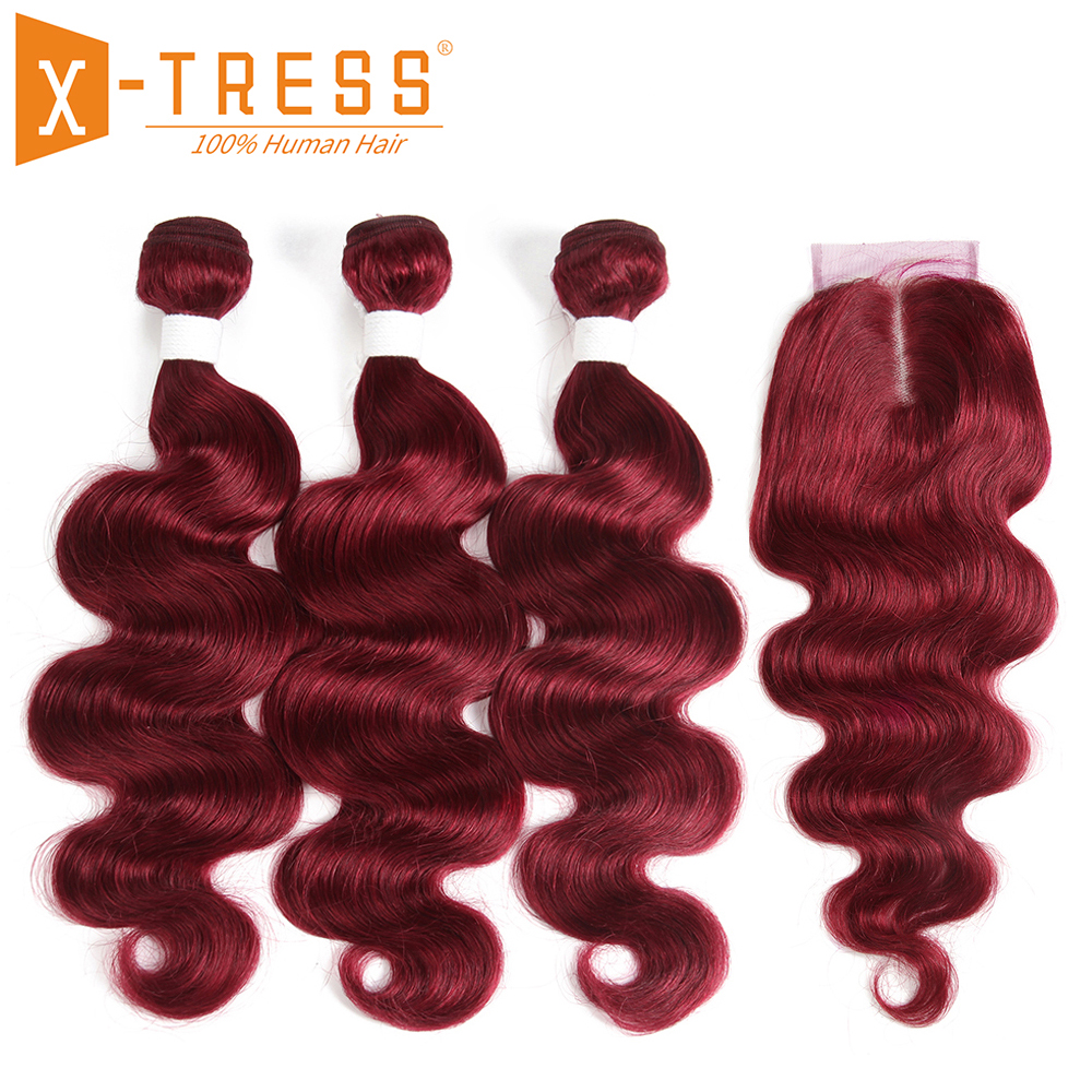 99J/Burgundy Red Color Body Wave Human Hair 2/3 Bundles With Lace Closure 4x4 X-TRESS Brazilian Non Remy Hair Weaves Extensions