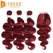 99J/Burgundy Red Color Body Wave Human Hair 2/3 Bundles With Lace Closure 4x4 X-TRESS Brazilian Non Remy Weaves Extensions
