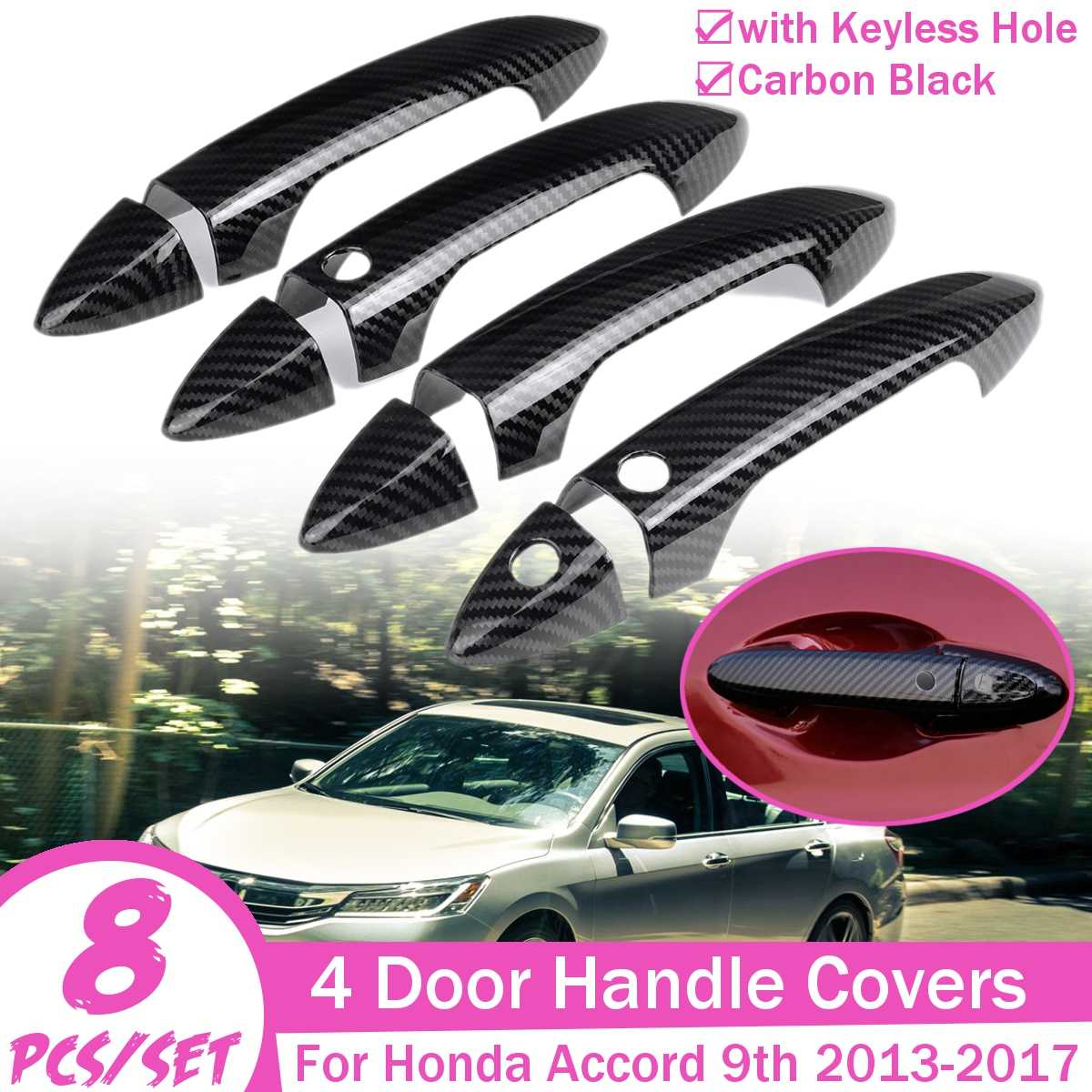 Car Exterior Door Handle Covers Trim Carbon Black Car Styling For Honda for Accord 9th 2013 2014 2015 2016 2017|Exterior Door Handles| |  - title=