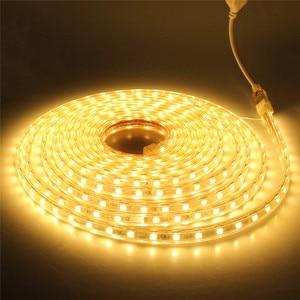 Светодиодная лента 5050 AC220V, гибкий светильник, 60 светодиодов/м, водонепроницаемый уличный светодиодный светильник, лента с вилкой питания 1 м...