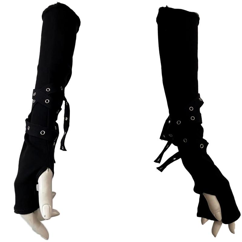Dark Goth Eyelet Ribbon Cool Girl Man Elbow Length Outsleeve Gloves Black Gothic Unisex Punk Fingerless Glove Harajuku Mittens