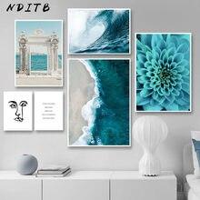Póster de pared de flores azul olas del océano, paisaje marino de playa, lienzo estampado, pintura nórdica, arte escandinavo, imagen de decoración de la habitación