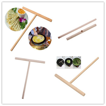 Kitchen Wooden Spreader Stick Tools T-shaped Kitchen Accessories Crepe Maker Pancake Batter 12*17cm image