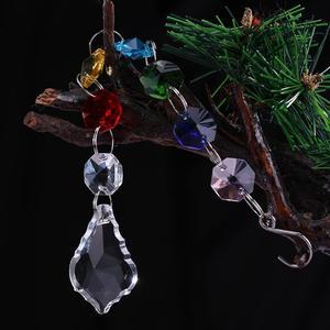 DIY Crystal Ball Chandelier Prisms Pendants Parts Hang Light String Octagonal Beads Crystal Suncatcher Maple Leaf Pendant