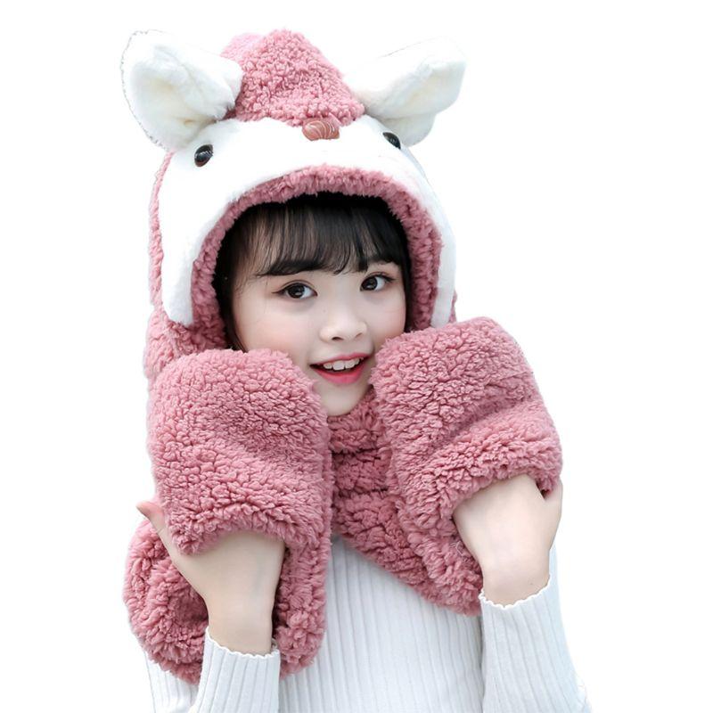 Kids Cartoon Scarf Hat Gloves Fashion 3 In 1 Cap Animal Pattern Hoodie Earflap