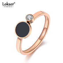 Lokaer Trendy Titanium Stainless Steel Black Acrylic Rings For Women Girls Mosaic CZ Crystal Love Wedding Ring Jewelry R19078