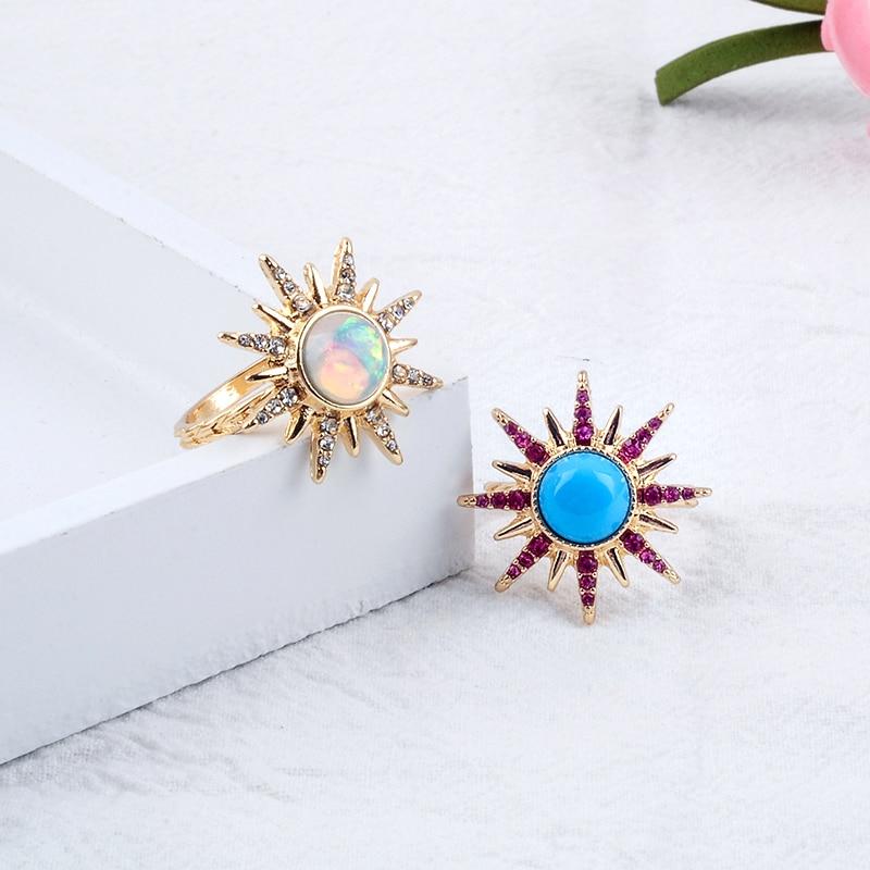 Vintage Bohemia Blue/White Acrylic Sun Ring For Women Handmade Date Gift Jewelry Free