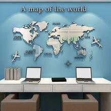 Mapa do mundo 3d adesivo de parede acrílico cor sólida cristal quarto parede com sala estar adesivos decoração escritório idéias