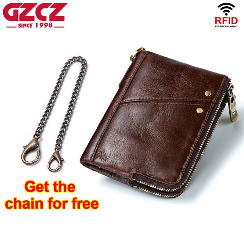 GZCZ Luxury Brand Wallet Men Zipper Design 2018 Men's Genuine Leather Vallet Mini Coin Purse Crazy Horse Male Walet For Rfid