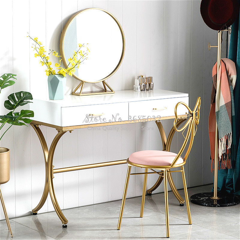 Bow-knot Dressing Table Stool Bedroom Back Princess Bow Manicure Makeup Chairs Nordic Girl Heart Modern Minimalist