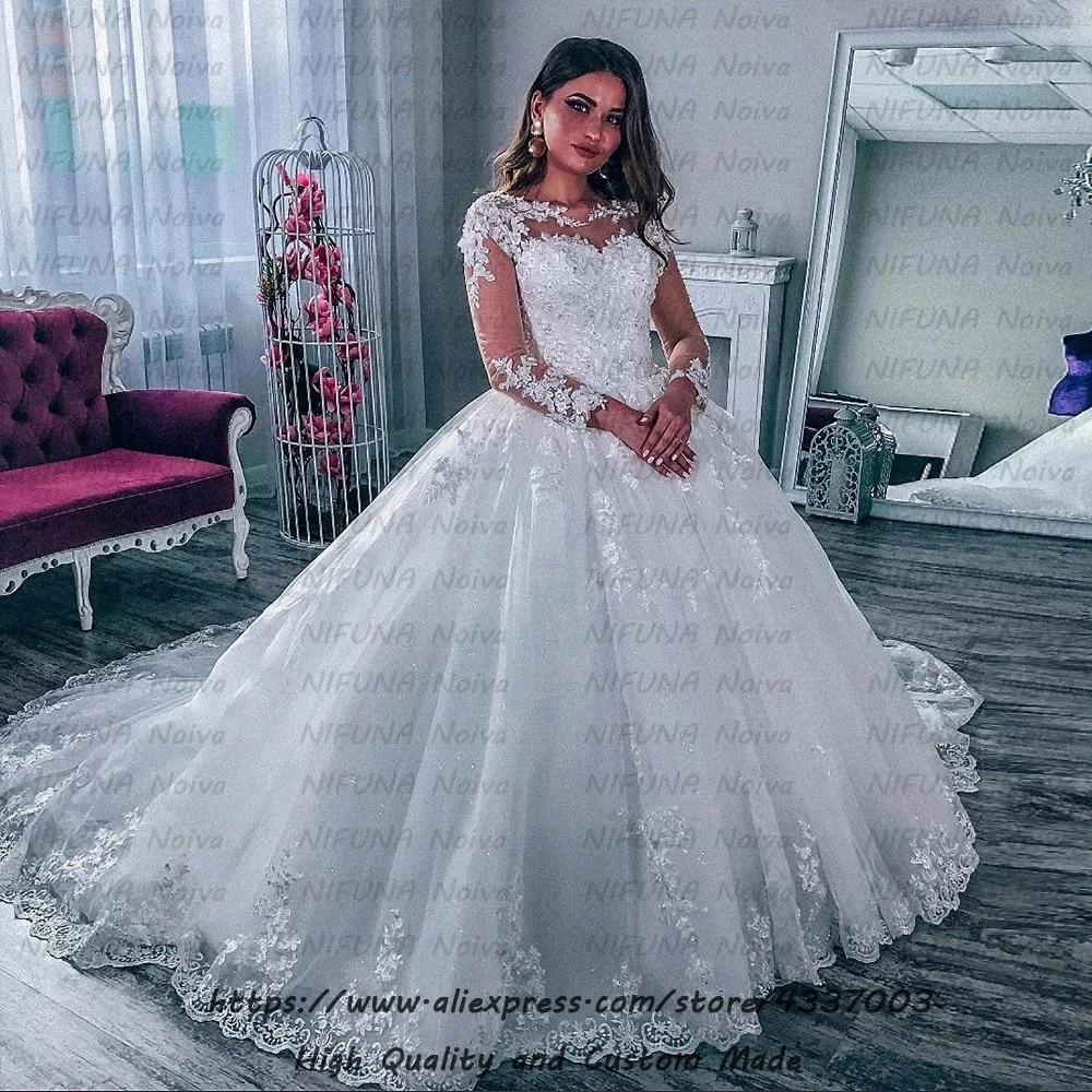 Sexy Dubai Ball Gown Long Sleeve Wedding Dress 20 Robe de Mariee Luxury  Lace Beaded Arabic Bride Dress Plus Size Wedding Gowns