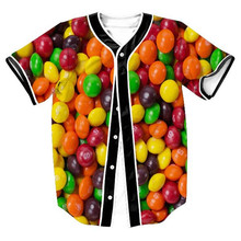 New Mens Hipster Hiphop Button-Down Baseball Jersey Short Sleeve Shirt  Funny 3D Candy Print Summer Top T-shirt Camisetas Hombre aifeiyiyi new cheap bruno mars 24k hooligans white pinstriped baseball jersey bet awards button down stitched mens shirts