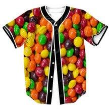 New Mens Hipster Hiphop Button-Down Baseball Jersey Short Sleeve Shirt  Funny 3D Candy Print Summer Top T-shirt Camisetas Hombre short sleeve button up lion print baseball jersey