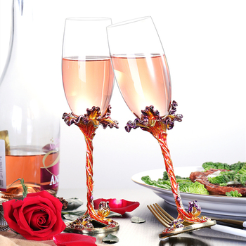 Enamel Color Champagne Cup European Lead-free Crystal Cup High-end Wine Glass Creative Wedding Gift