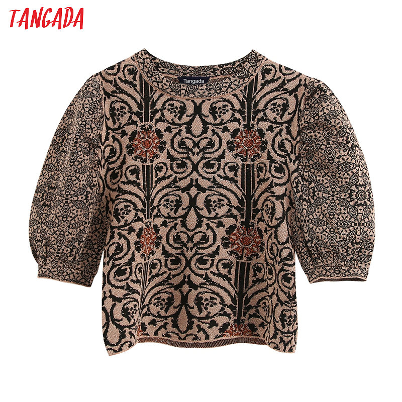 Tangada Chic Women Vintage Pattern Crop Sweater Puff Short Sleeve Vintage Ladies Elegant Knitted Jumper Tops BE253