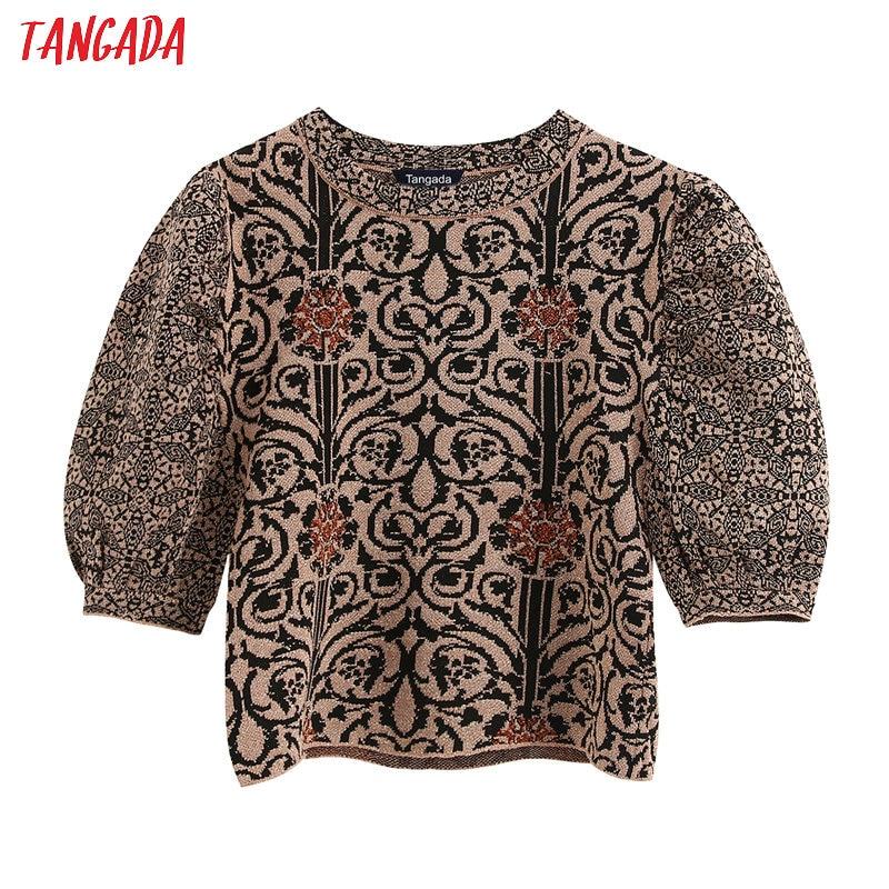 Tangada Chic Women Vintage Pattern Crop Sweater Puff Short Sleeve Vintage Ladies Elegant Knitted Jumper Tops BE253