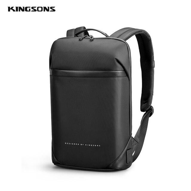 Kingsons magro computador portátil mochila homens 15.6 polegada trabalho de escritório homens mochila de negócios unisex preto ultraleve mochila fina 3