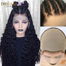 Onzichtbare Nep Hoofdhuid Kant Pruik 13*6 Lace Front Krullend Human Hair Pruik Voor Vrouwen Pre Geplukt HD Transparant lace Pruik 150% Dichtheid