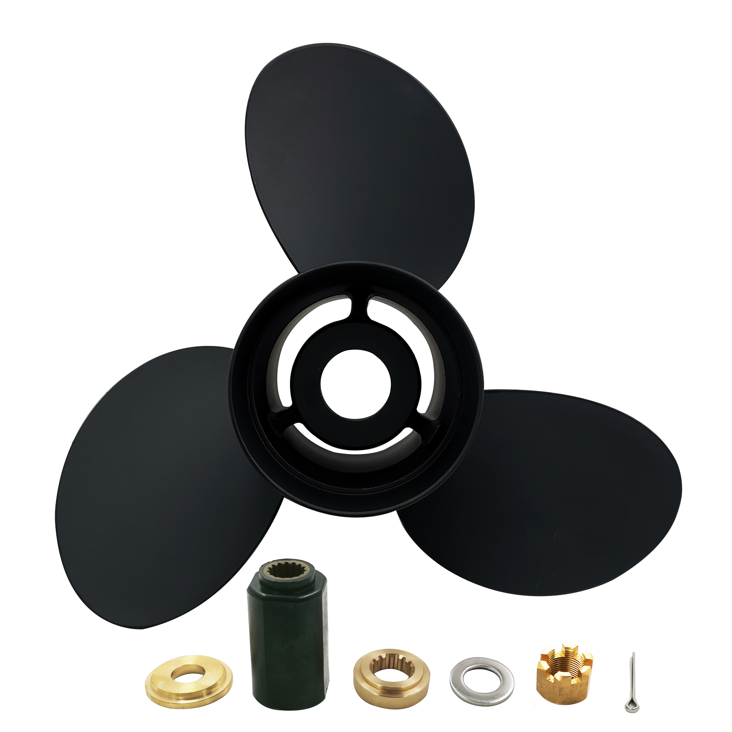 <font><b>13</b></font> <font><b>3</b></font>/4x15 for Yamaha 50-130 <font><b>HP</b></font> Interchangeable hub with hub kits 15 teeth spline aluminium boat accessories marine propellers image