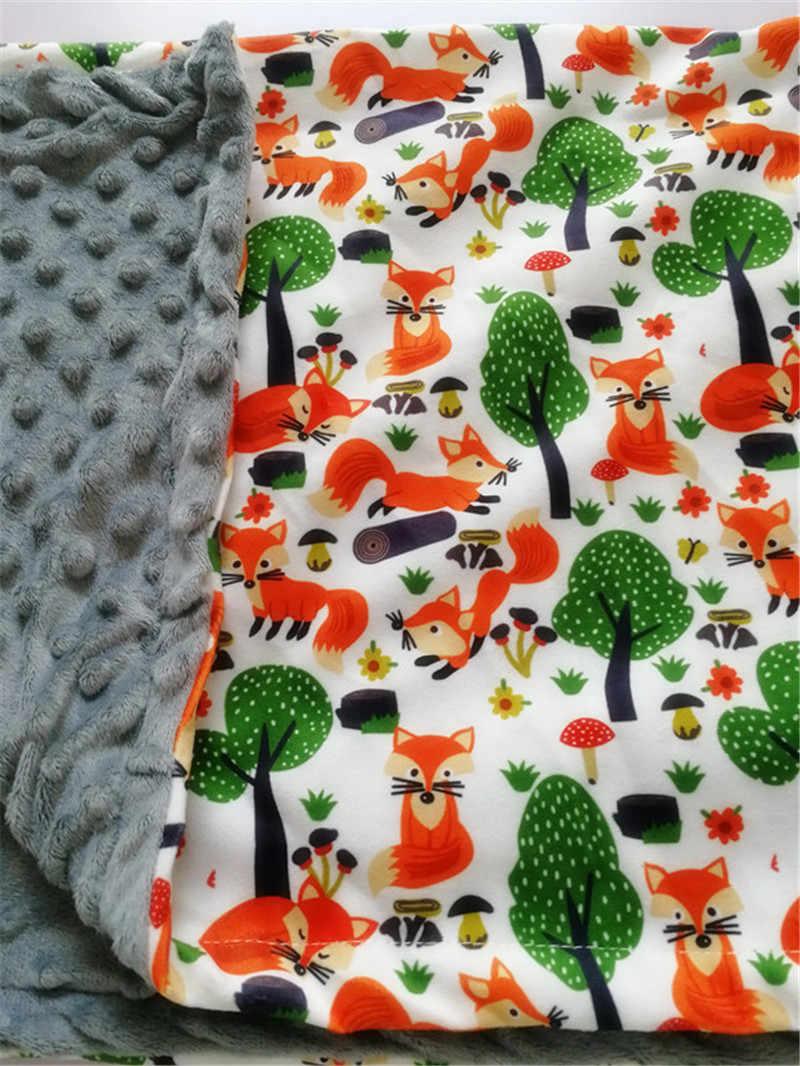75*120cm las wzór w lisa dziecko Minky koc koral polar noworodka pieluszki niemowlę kocyk dla niemowląt dzieci kołdra szopka koce
