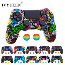 IVYUEEN 25 Colors Silicone Camo Protective Skin Case For Sony Dualshock 4 PS4 DS4 Pro Slim Controller Thumb Grips Joystick Caps