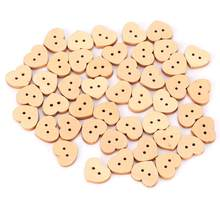 100 Pcs Heart Shaped Wood Button Children DIY Tool Sweater Hand Made Buckle Painting Tool Buttons DIY Button Tool(China)